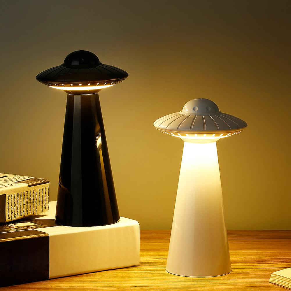 UFO Design Mini Rechargeable LED Table Lamp Stepless Dimming Night Light Decor