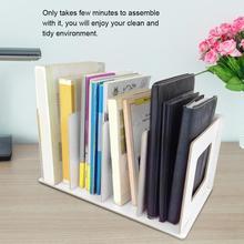 Zdejmowane 4 siatki DIY drewniana książka przechowywanie Organizer stojak plik CD półka do przechowywania Nordic Desktop etui na książki Mini stojak na plik biurowy