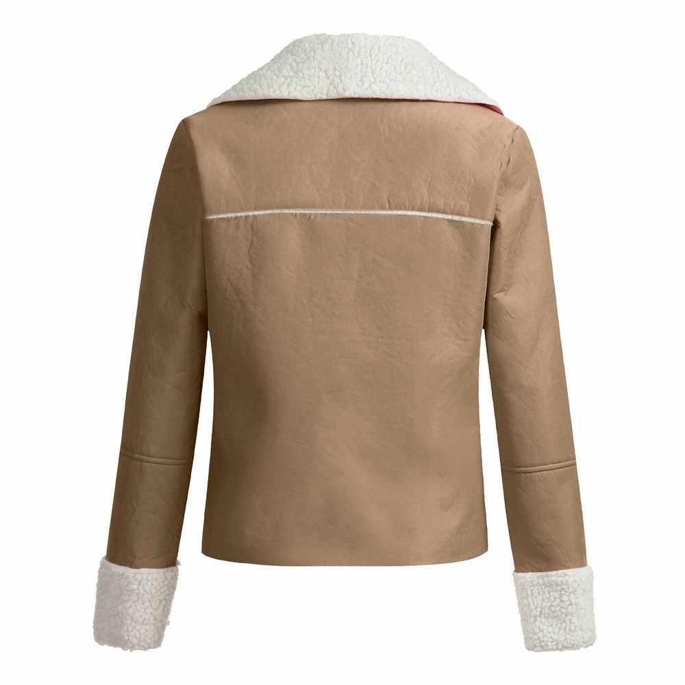 Jaqueta feminina 女性ラペルスエードレザークールパイロットジャケットフェイクラムウールオートバイジャケット chaquetas mujer 2019