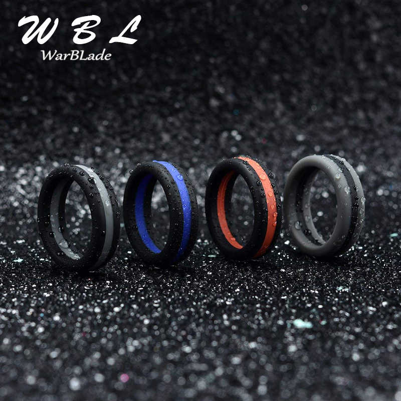 Silicone Ring Colorful Three Layered Hypoallergenic Crossfit Flexible Rubber Finger Rings Men Women Engagement Wedding Rings WBL