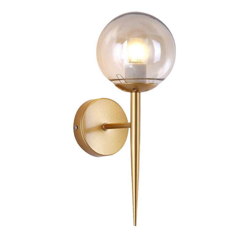 Nordic Metal LOFT Glass Ball LED Wall Lamps Sconce Bedroom Wall Lights Fixtures Home Decor Foyer Living Room Corridor Luminaire in LED Indoor Wall Lamps from Lights Lighting