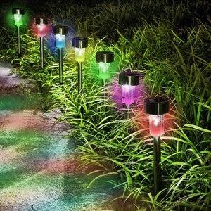 Image 3 - 10 unids/lote de lámpara Solar de jardín LED de acero inoxidable para decoración de jardín, energía Solar para exteriores, lámpara Solar de palo de bolardo impermeable