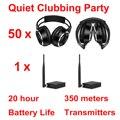 Складные бесшумные беспроводные наушники для дискотеки, расстояние 350 м, тихий Набор для клубвечерние (50 наушников + 1 передатчик)