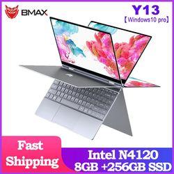 حاسوب محمول BMAX Y13 360 ° حاسوب محمول 13.3 بوصة حاسوب محمول ويندوز 10 برو 8 جيجابايت LPDDR4 256 جيجابايت SSD 1920*1080 IPS إنتل N4120 حاسوب محمول بشاشة لمس