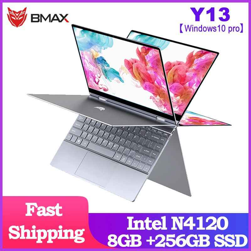 BMAX Y13 360 ° מחשב נייד 13.3 אינץ מחברת Windows 10 פרו 8GB LPDDR4 256GB SSD 1920*1080 IPS Intel N4120 מגע מסך מחשבים ניידים