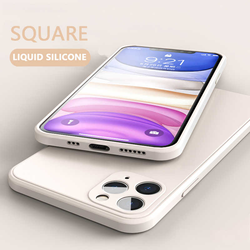 New Luxury Liquid Silicone Phone Case For iPhone 11 12 Pro Max X XS XR Max 7 8 Plus SE 2 2020 Case Square Solid Color Soft Cover
