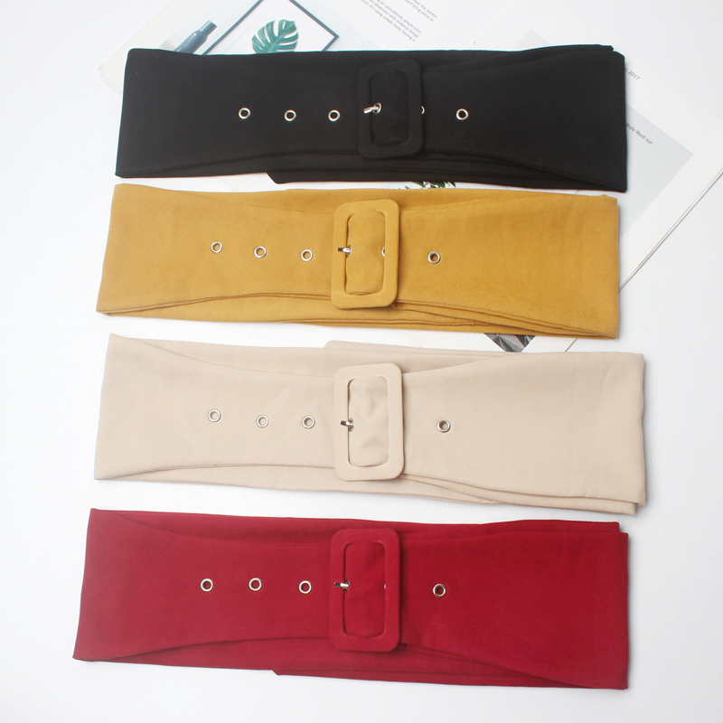 Long Velvet Belt Suede Dress Belts Female Circle Knot Black Waistband Red Brown Decorate Coat Sweater Belt Waist Seal Tide SW121