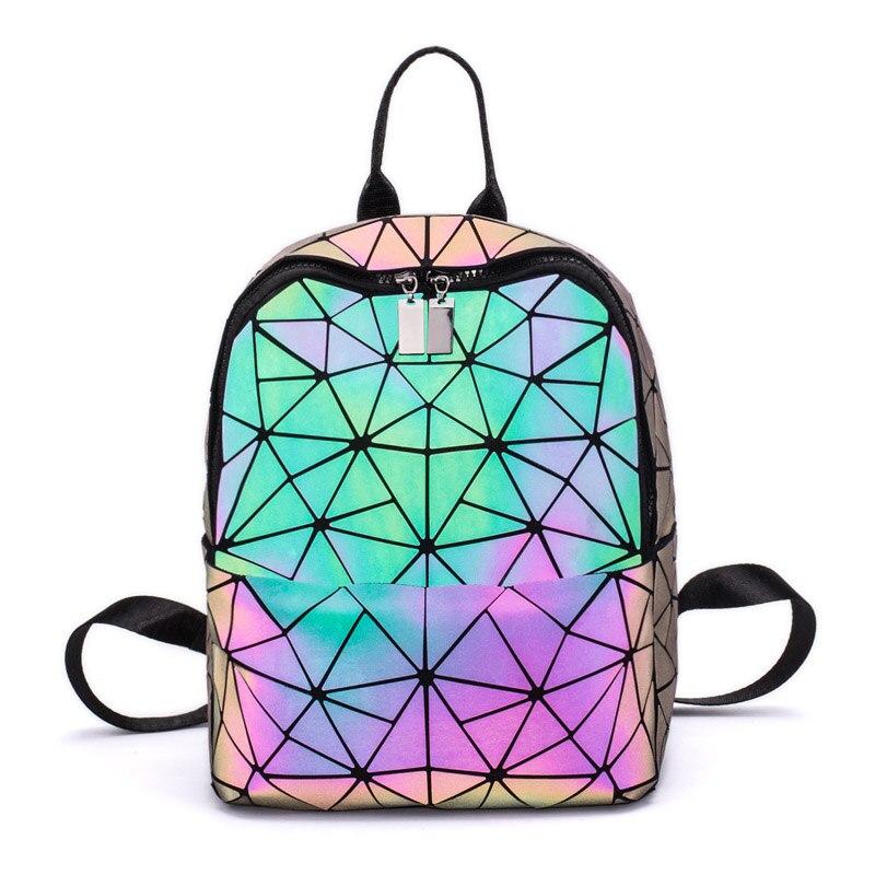 Daily Backpack Geometry Hologram Folding-Bags Travel Female Fashion Pu Women Purse Girl