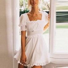 Женское винтажное мини платье в горошек с квадратным вырезом