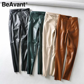 BeAvant fashion women pencil pants pu leather zipper casual long trouser pants slim fit ladies streetwear skinny punk bottoms