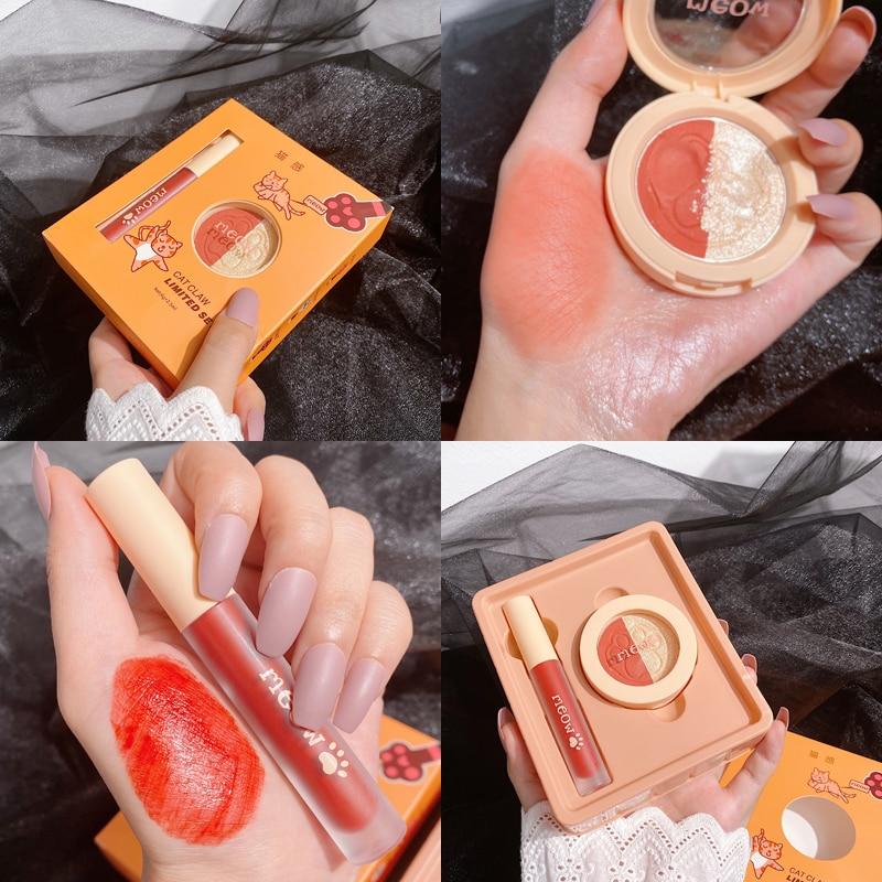 Блеск для губ + хайлайтер бронзер палитра Макияж набор водостойкая
