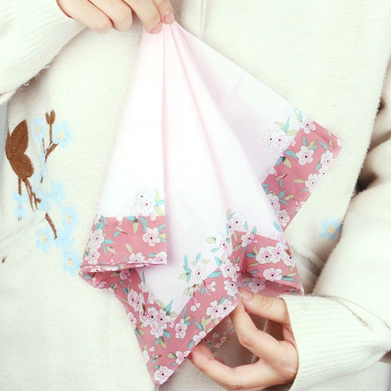 Womens Cotton Square Handkerchiefs Cherry Blossom Floral Candy Color Hanky Towel LX9E