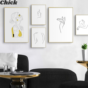 Abstract Women Line Drawing Nordic Poster & Prints Modern Canvas Painting Wall Art Yellow Girl Wall Picture Bedroom Home Decor image