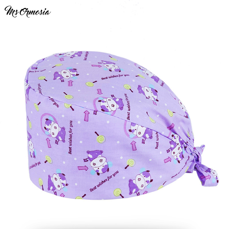 Unisex Medical Work Hats New Medical Doctor Nurse Surgical Caps Cute Animal Printing Lab Clinic Dental Operation Hat Pet Vet Cap