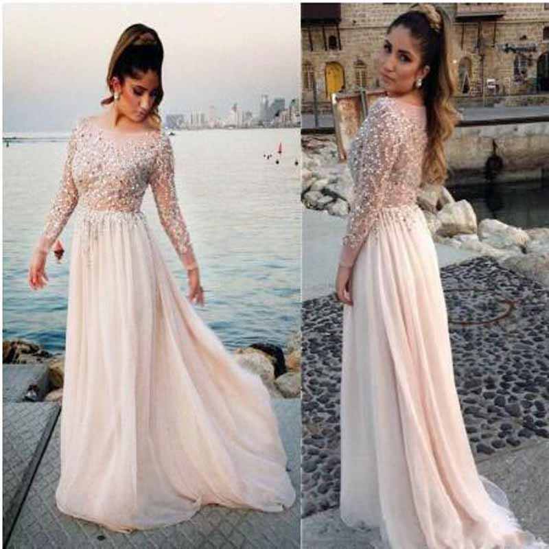 Luxury Beading Ruched Pearls A-line   Prom     Dresses   Illusion Scoop Neck Long Sleeve Floor Length Evening Gown vestidos de gala