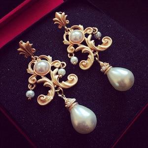 Retro Luxury Baroque Bride Earring For Women Euramerican Palace Vintage Pop Pearl Earrings