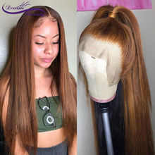 13X6 Deep Part Lace Front Wig Straight Honey Blonde Color Brazilian Remy Hair Pre Plucked Bleached Knots Lace Wigs Dream Beauty