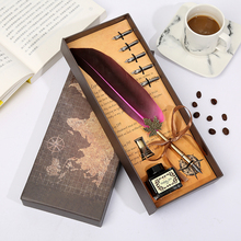 Dip Pen Short Hair Leaf Pole Cardboard Feather Pen Birthday Gift Box Student Stationery Retro Gift Box Office Stationery 2019