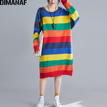 DIMANAF Women Dress Plus Size Winter Autumn Thick Knitting Vestidos Rainbow Striped Fashion Female Lady Long Sleeve Sweater High Street Colourful 2019 New Clothing