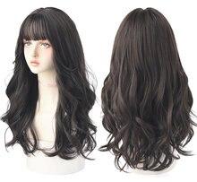 7JHH – perruque synthétique ondulée longue avec frange, cheveux épais et résistants à la chaleur pour femmes, cadeau de noël
