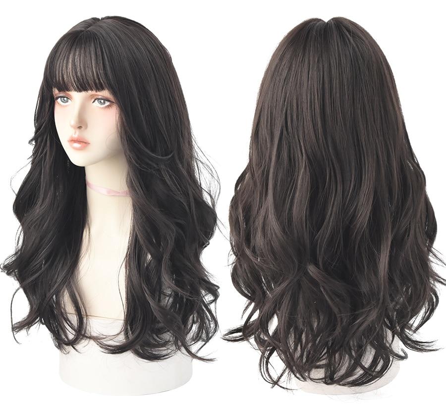 7JHH mode Ombre brun noir vague profonde cheveux longs avec frange perruques synthétiques pour les femmes noël résistant à la chaleur épais perruque cadeau