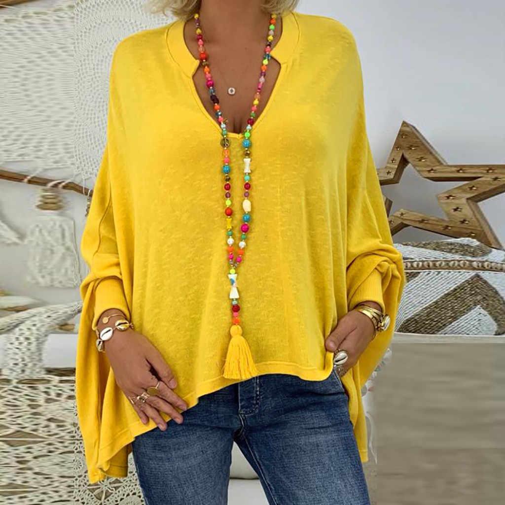 2019 בתוספת גודל חורף סתיו אופנה גברת חולצה מוצקה מקרית Loose V-צוואר טי למעלה נקבה נשים ארוך שרוול חולצה Blusa סוודרים