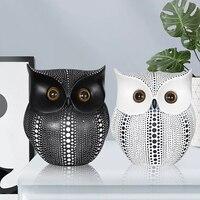 Скандинавском стиле, минималистичное ремесло, белые, черные совы, фигурки животных, полимерные миниатюры, украшение для дома, украшения для ...
