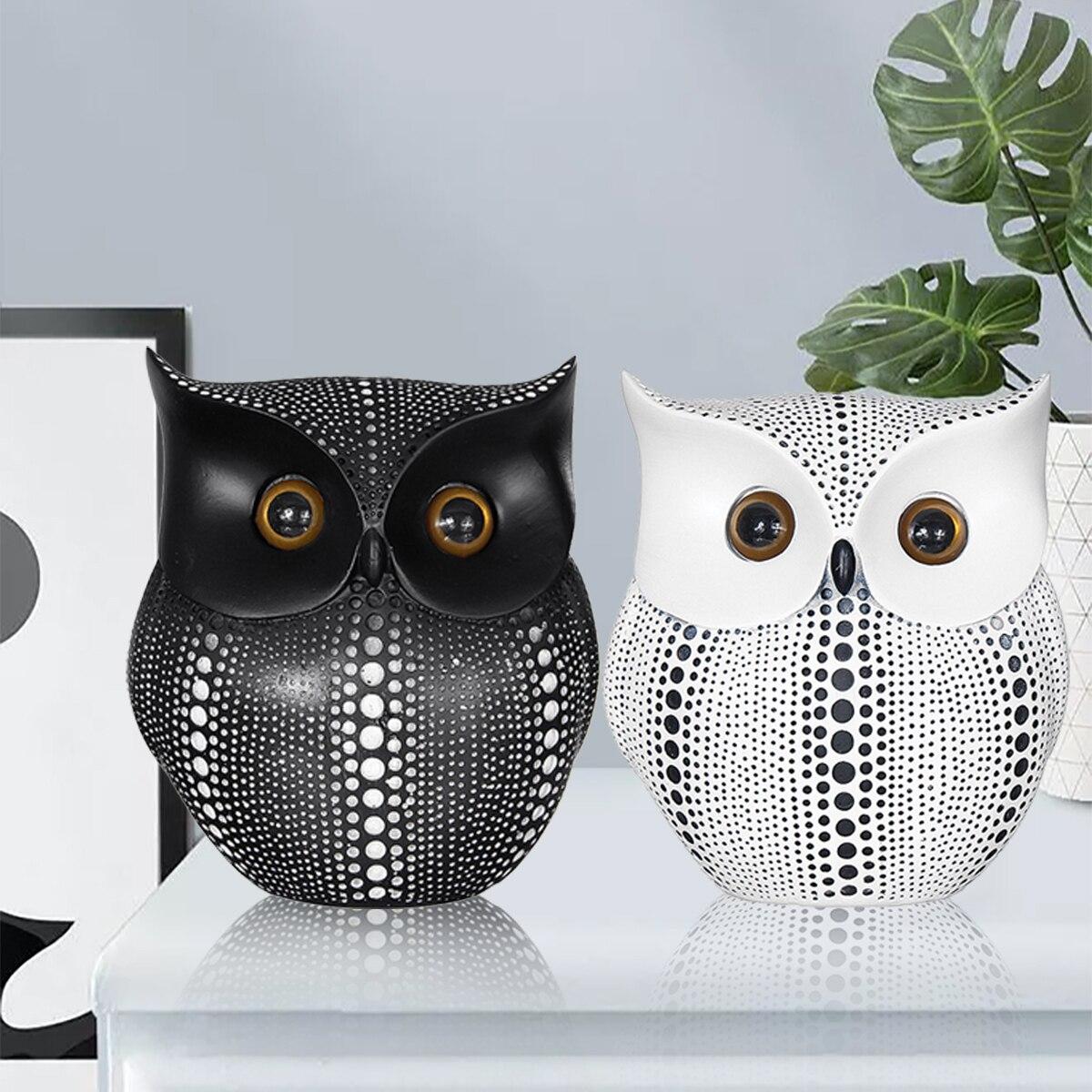 >Nordic Style Minimalist Craft White Black Owls Animal Figurines Resin Miniatures <font><b>Home</b></font> <font><b>Decoration</b></font> Living Room <font><b>Ornaments</b></font> Crafts