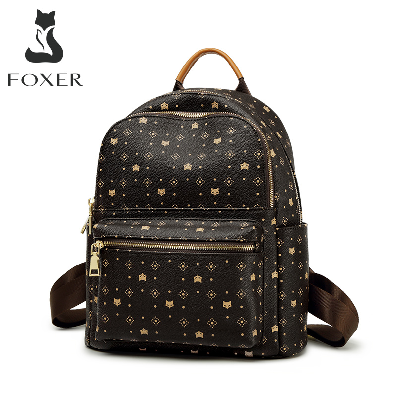 FOXER PVC Printing Fashion Backpack With Adjustable Shoulder Strap Ladies Travel Rucksack Female Retro Business Women Backpack