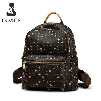FOXER, mochila de moda con estampado de PVC de firma para mujer, mochila de viaje para mujer, mochila para ordenador portátil de negocios con monograma Retro para mujer