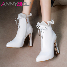 ANNYMOLI Autumn Ankle Boots Women Natural Genuine Leather Bow Extreme High Heel Short Boots Zip Pointed Toe Shoes Lady Winter 39 annymoli winter ankle boots women natural genuine leather thick high heel short boots zipper pointed toe shoes lady autumn 34 39