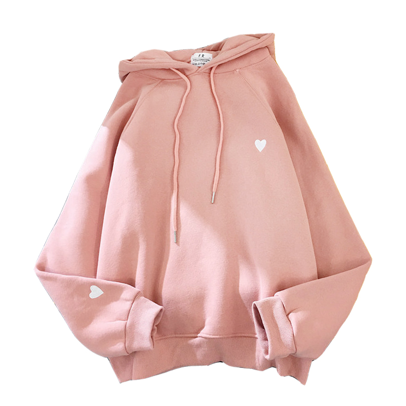 Winter Women Fashion Hoody Sweatshirt Embroidery Harajuku Love Heart Fleece Lady Hoodie Loose Long Sleeve Female Casual Pullover