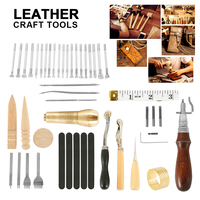 59 Pcs/Set Leather Craft Tools Kit Hand Sewing Stitching Punch Carving Work Saddle Leathercraft Accessories