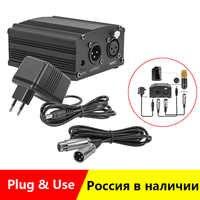 Pour Bm 800 Microphone 48V alimentation fantôme avec adaptateur XLR câble Audio pour condensateur Micro karaoké Microphone Mikrofon