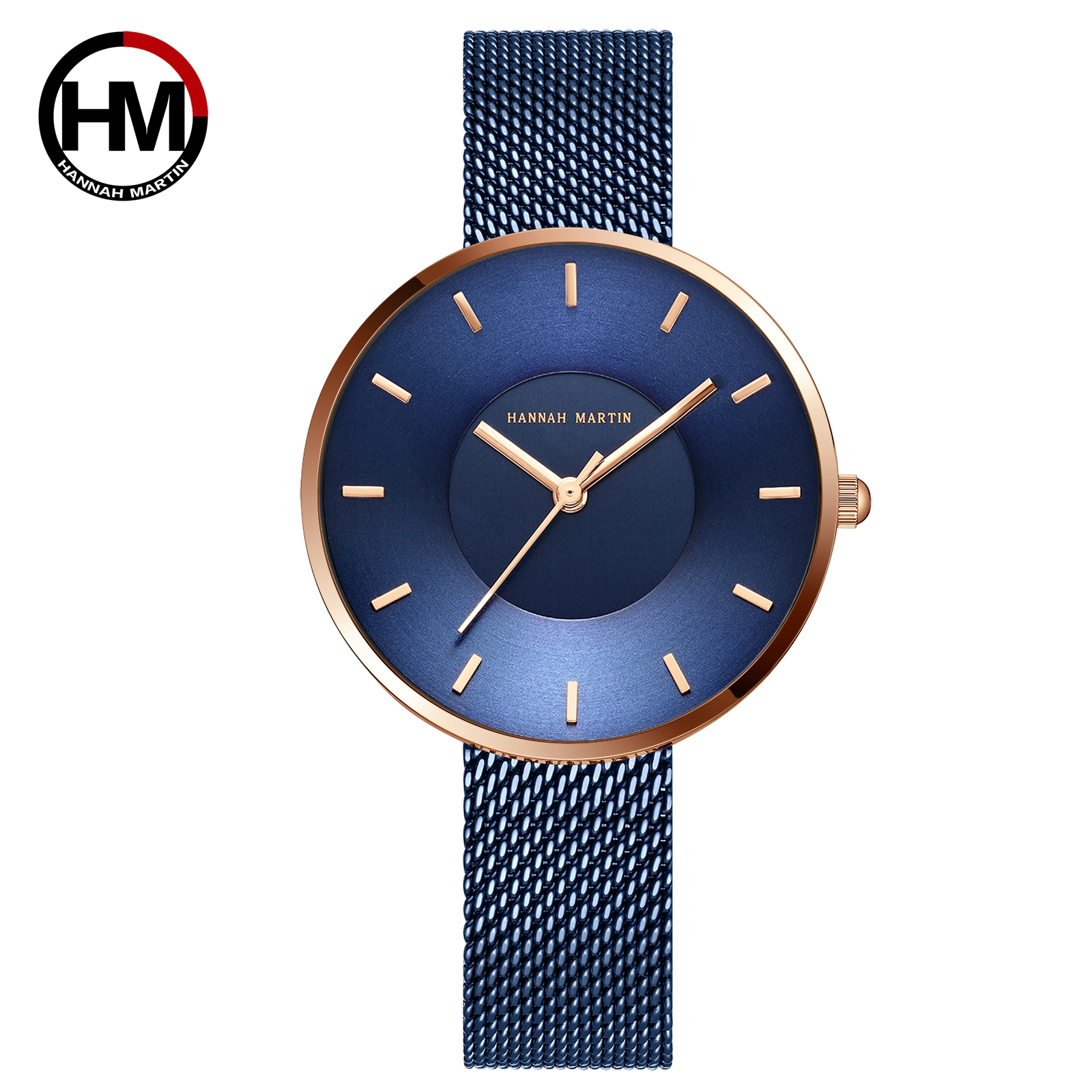 JAPAN MIYOTA 2035 Quartz Movement Simple Design Luxury Gift Stainless Steel Band Curved Face Blue Rose Gold Watches For Women