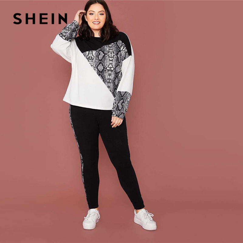 SHEIN Plus Size Snakeskin Color Block Pullover and Leggings 2 Piece Set Women Spring Sporting Casual Two Piece Sets