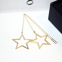 In Acciaio Inox Star Orecchini per Le Donne di Colore Oro Infila Orecchini Lunghi Orecchio Linea Catena di Modo Coreano Orecchini Gioielli 2020