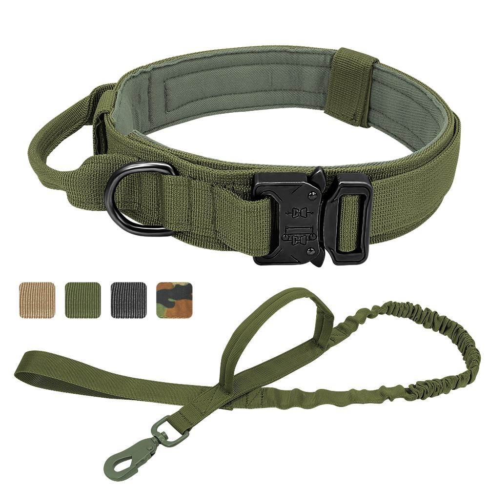 Collier tactique militaire pour chiens, Shepard allemand, pour chiens moyens et grands, de plomb pour l'entraînement à la marche, poignée de contrôle