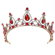 European red Crystal Crown Headwear Bridal Wedding Hair Accessories Jewelry Bride Tiaras Princess Crowns 2019(China)