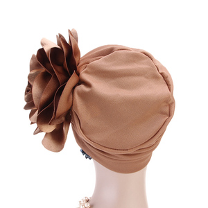 Image 3 - Clearance Big Flower Turban Head Covers Women Muslim Chemo Cap Bandanas India Hat Mujer Ladies Wedding Party Hair Accessories