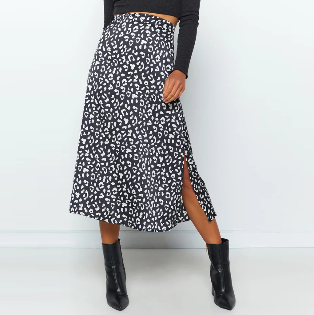 Bohemian Skirts High Waist Fashion Leopard Print Summer Skirts Womens Asymmetrical Chiffon Skirt Maxi For Women 2020DGH4