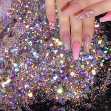 1 Bag Glitter Nail Art Sequins Holographic Rectangle Mix Shape Hexagon Manicure Nails Art Decorations Makeup Face Powder Flakes