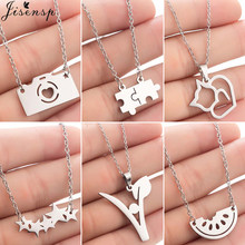 Jisensp Simple Stainless Steel Necklaces Pendants Women Fashion Jewelry Geometric Puzzle Cat Star Necklace Choker Accessories(China)