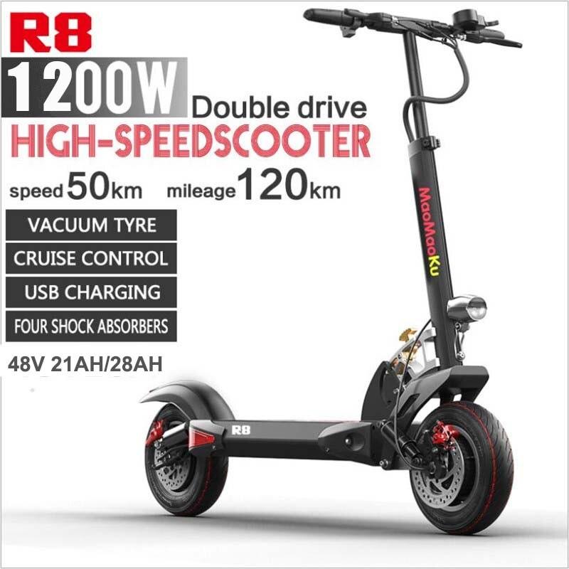 Doppel Stick Elektrische Skateboard Roller Falten Zwei Räder Elektro scooter 10 ''Leistungsstarke Elektrische Roller 1200W 48V 50 KM/H
