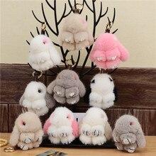 Mink Fur Bunny Fur Pendant Bag Jewelry Key Chain Plush Pendant Trumpet Cute Cute Rabbit Children Animal Cartoon Doll