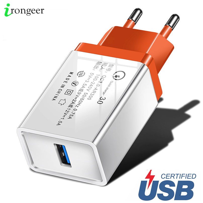 Quick Charge 3.0 2.0 EU/US Plug USB Charger Travel Wall Fast Charging Adapter For Samsung S9 Xiaomi Tablets Mobile Phone Charger(China)