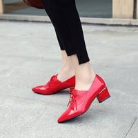 Summer 2019 Fashion Red Black Patent Pu Pumps Women Shoes Hih Heels Lace Up Office Gladiator Block Heel Shoes Bi Size