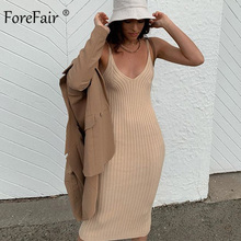 Forefair Off Shoulder V Neck Basic Ribbed Knit Midi Dress Woman Party Fashion Solid Knee Length Sweater Sexy Dress Women