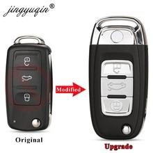 Jingyuqin הותאם להעיף מפתח מקרה עבור פולקסווגן פולקסווגן גולף 6 Mk6 Tiguan פולו פאסאט CC מושב סקודה אוקטביה 3 כפתור רכב מפתח Shell Fob