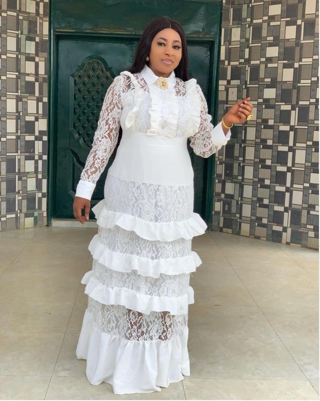 2019 Big Size New Style Classic African Women's Dashiki Fashion Lace Fungus Edge Stitching Long Dress